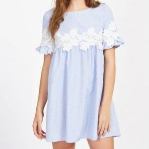 Blue Floral Embroidered Striped Dress